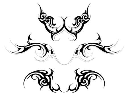 celtic art: Vector illustration with set of body art tattoo shapes