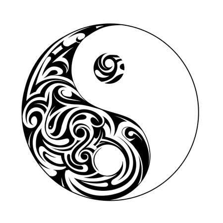 chinese philosophy: Ying yang symbol with decorative ornament isolated on white Illustration