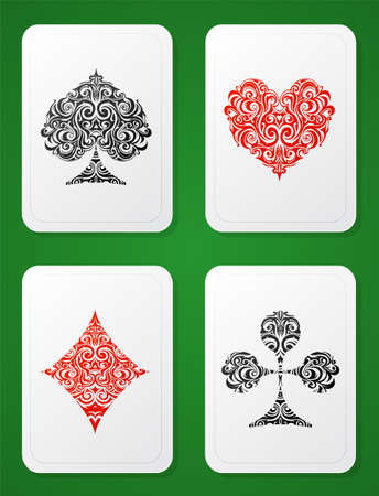 card suits: Artistic set of playing cards suit design on green backdrop