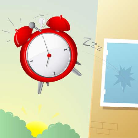 molesto: Historieta irónica con despertador molesto volando por la ventana