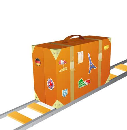 ferrocarril: Ilustración del vector con la maleta que viaja por ferrocarril