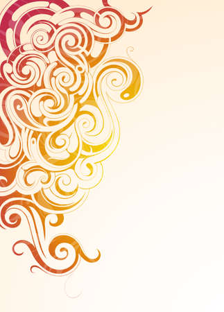 abstract swirls: Colorful smoke with ethnic ornaments on surface and copy space on backdrop