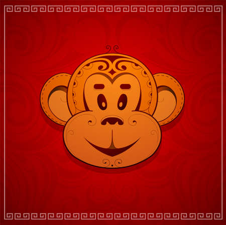 chinese horoscope: Monkey cartoon as zodiac symbol for year 2016