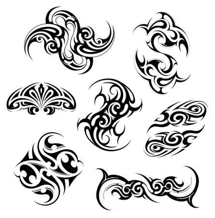 Tribal arte del tatuaje establecido con diversos largueros étnicos incluyendo los maoríes, el gótico, el Celtic, azteca