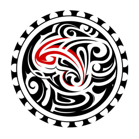 body art: North American ethnic style emblem as body art tattoo