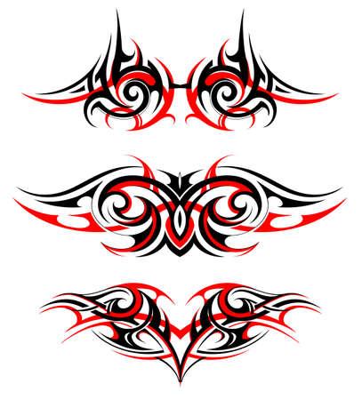 Gothic wing tattoo set isolated on white Illustration