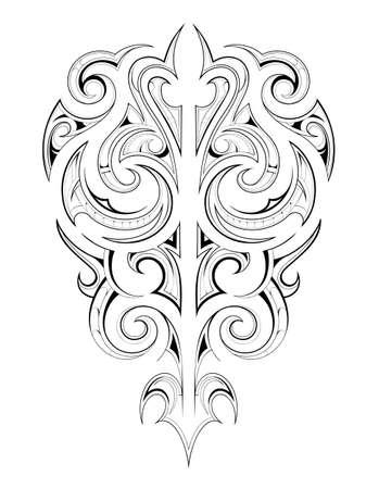 Decorative tattoo shape with ethnic Maori style elements