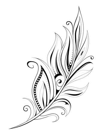 Feather tattoo with ethnic elements isolated on white