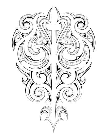 Decorative tattoo shape with ethnic Maori style elements Zdjęcie Seryjne - 44383913