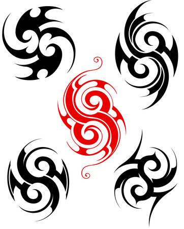 Maori ethnic tattoo set isolated on white Illustration