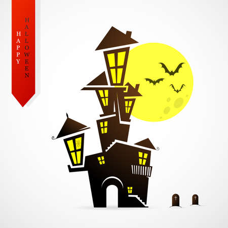 graves: Haunted house silhouette as symbol of Halloween