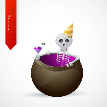 holiday party: Pretty skeleton as Halloween holiday party greeting card design Illustration
