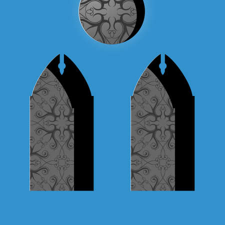 church window: Catholic church window with stained mosaic ornament. Flat graphic design Illustration