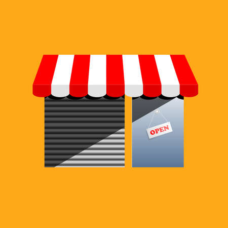 store window: Small corner shop in simple cartoon drawing style