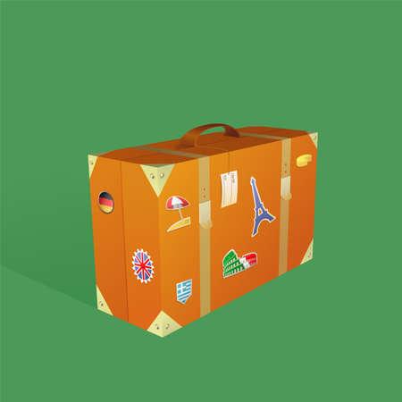 valise voyage: Voyager valise avec le dessin destination autocollants de bande dessinée Illustration