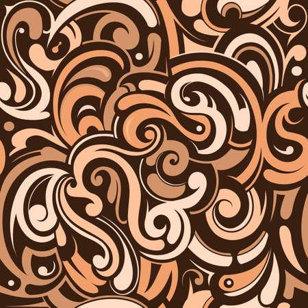 graffiti brown: Graffiti style seamless wallpaper with decorative swirls