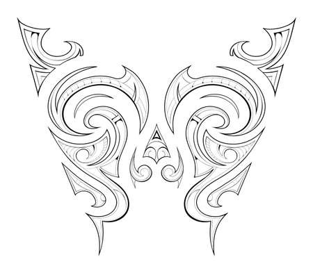 Butterfly tattoo ethnic ornament with Maori style motif Illustration