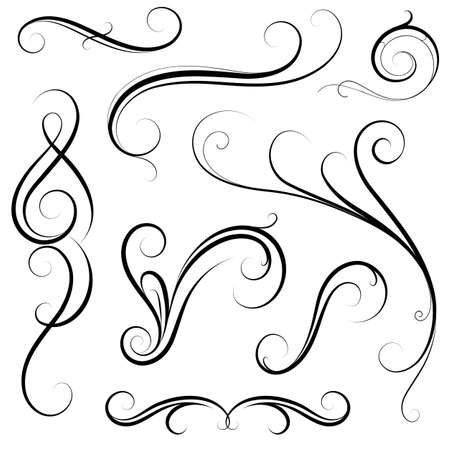 Set of various calligraphic swirls and frame borders Ilustração