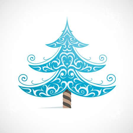 winter tree: Christmas tree ornamental as winter holidays symbol
