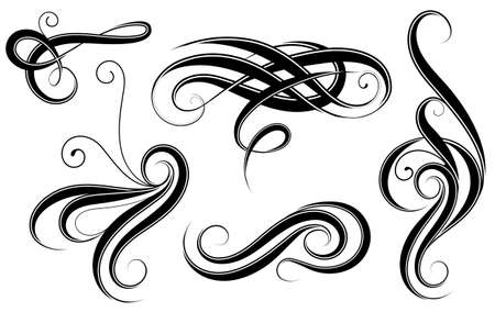 Calligraphic elements filigree design isolated on white Illustration