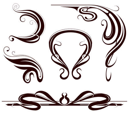 Art nouveau style design elements isoalted on white