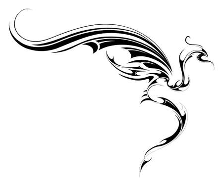 tribal: Flying dragon tattoo sketch isolated on white