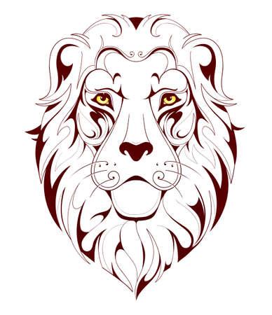 leones: Ilustración del vector para el león tatuaje cabeza lineal