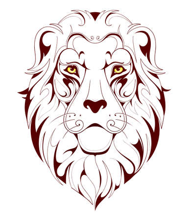 Vector illustration for lion head linear tattoo