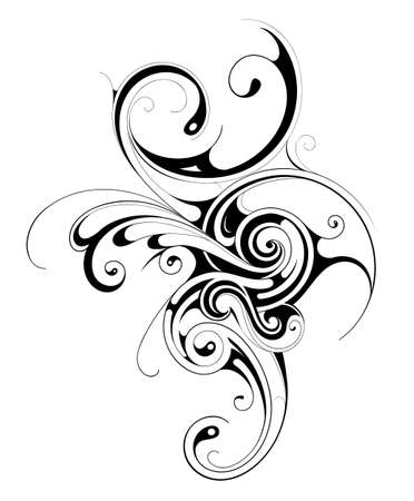 Graphic design element with decorative swirls. Good for T-shirt prints and body art decorations