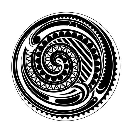 ethnic tattoo: Circle ethnic tattoo ornament with Maori origin