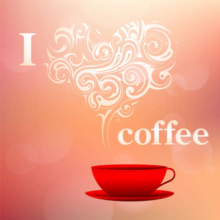 aroma: I love coffee concept illustration with coffee aroma steam ornament as heart shape