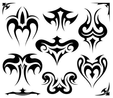 Gothic style: Set of various styles tribal art elements