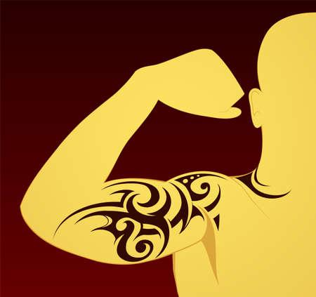 Body art tattoo op de arm en borst Stock Illustratie