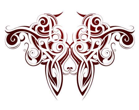 maori: Body art ink tattoo with Maori ethnic elements