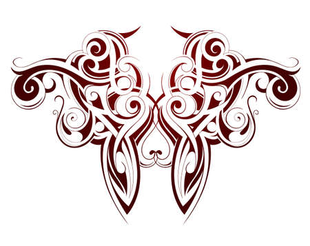maories: Cuerpo arte del tatuaje de tinta con elementos �tnicos maor�es