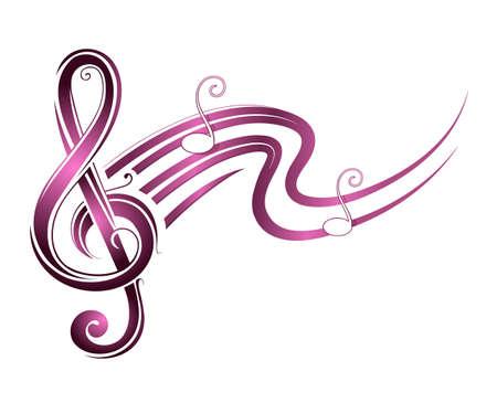 Musik Noten mit Schallwellen isoliert auf weiß