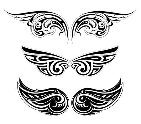 Set van verschillende etnische stijlen vleugels tattoo Stock Illustratie