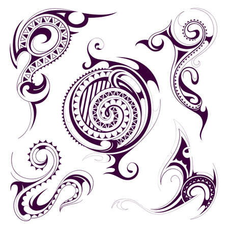 Set of ethnic tattoo ornaments in Maori tribe style Illustration