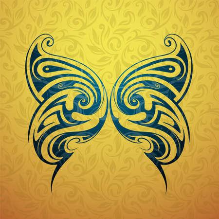 Forma tatuaggio Tribal butterfly con sfondo ornamento floreale