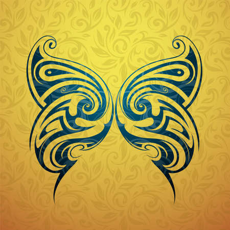 tattoo wings: Tribal tattoo butterfly shape with floral backdrop ornament Illustration
