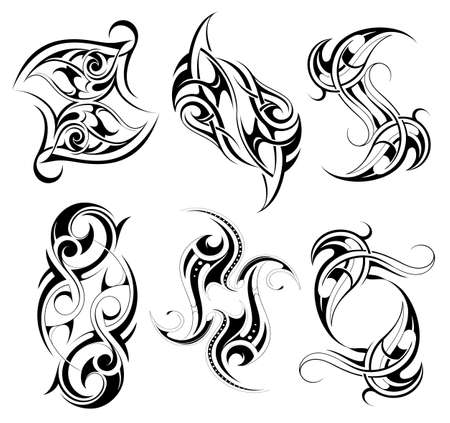 Tribal art tattoo set featuring various ethnic stiles including Maori, Gothic, Celtic, Aztec