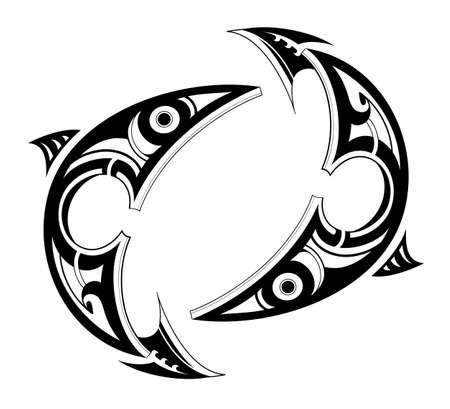 tatto: Pisces tatto shape as zodiac symbol isolated on white Illustration