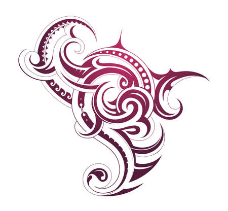polynesian: Decorative tattoo shape with Maori style elements