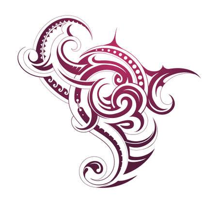 Decorative tattoo shape with Maori style elements