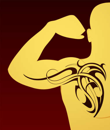 bicep curls: Body art tattoo on arm and chest Illustration