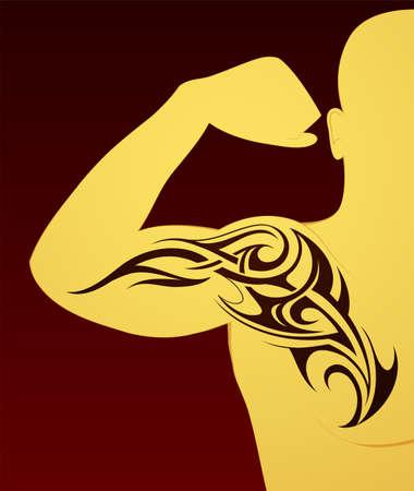 arm tattoo: Body art tattoo on arm and chest Illustration