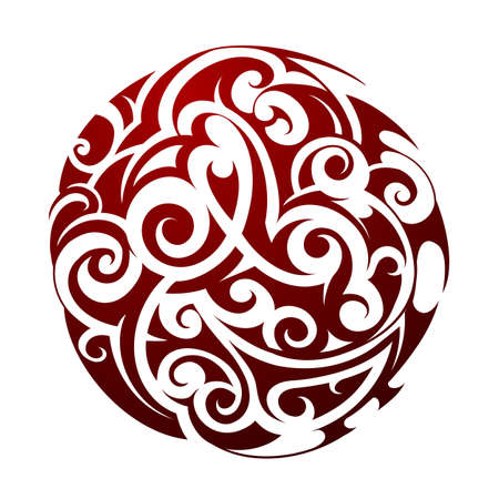 Maori ethnic circle tattoo shape isolated on white
