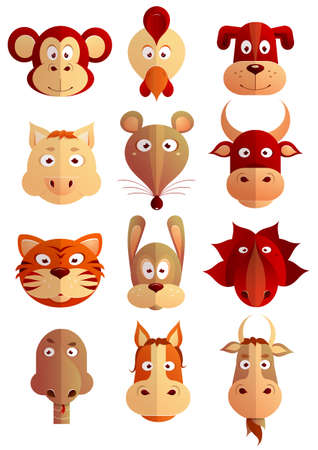 twelve: Set of twelve cartoon animals as symbols of Chinese zodiac horoscope Illustration