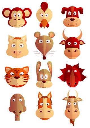 Set of twelve cartoon animals as symbols of Chinese zodiac horoscope Illustration