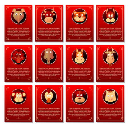 chinese astrology: Twelve Chinese zodiac signs with short horoscope text